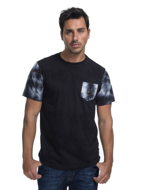 0 Camiseta Manga Curta Slim Fit Sleeve Dyed Quiksilver Preto BR61142891 Quiksilver