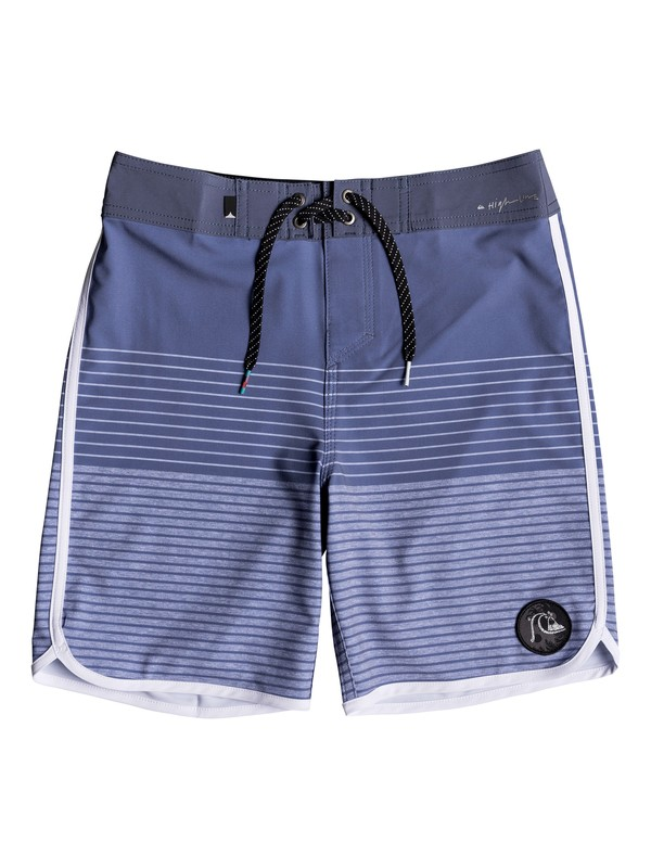 "0 Boy's 8-16 Highline Tijuana Scallop 17"" Boardshorts Blue EQBBS03301 Quiksilver"