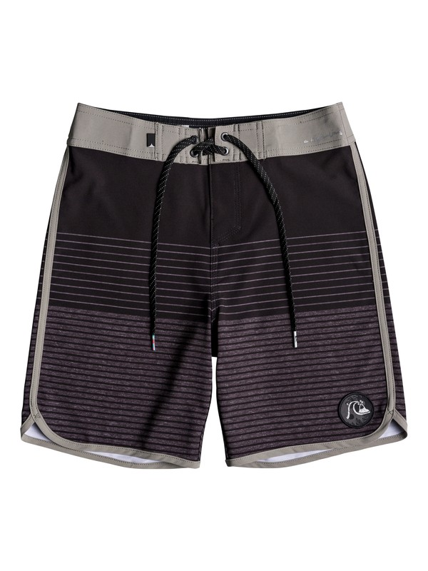 "0 Boy's 8-16 Highline Tijuana Scallop 17"" Boardshorts Black EQBBS03301 Quiksilver"