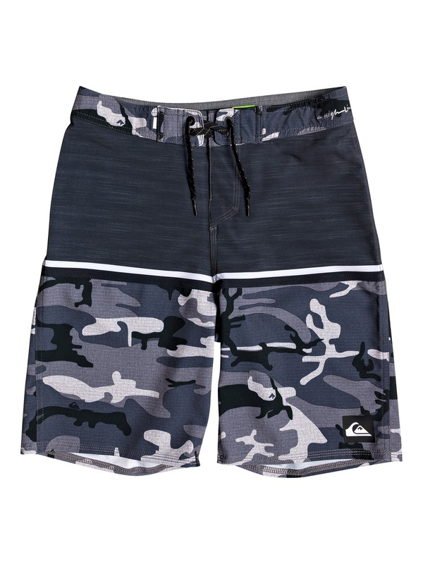 "0 Boy's 8-16 Highline Division 18"" Boardshorts Black EQBBS03348 Quiksilver"