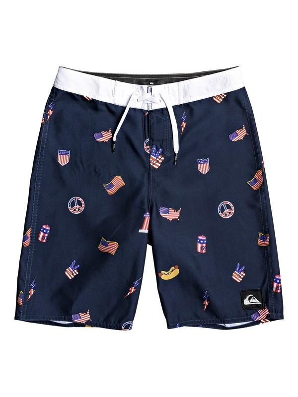 "0 Boy's 8-16 Everyday Hot Dog 18"" Boardshorts Blue EQBBS03388 Quiksilver"