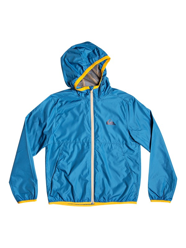 0 Contrasted - Hooded Water-Repellent Windbreaker for Boys 8-16 Blue EQBJK03138 Quiksilver