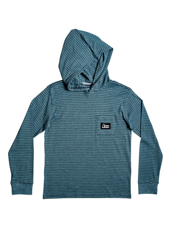 0 Boy's 8-16 Zermet Hooded Long Sleeve Pocket Tee Blue EQBKT03232 Quiksilver