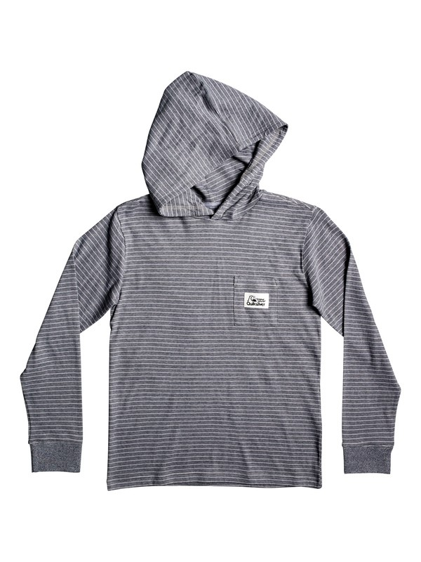 0 Boy's 8-16 Zermet Hooded Long Sleeve Pocket Tee Grey EQBKT03232 Quiksilver