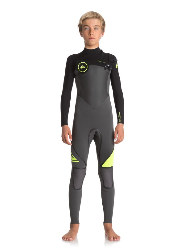 0 Boy's 8-16 3/2mm Syncro Plus Chest Zip Wetsuit Black EQBW103026 Quiksilver