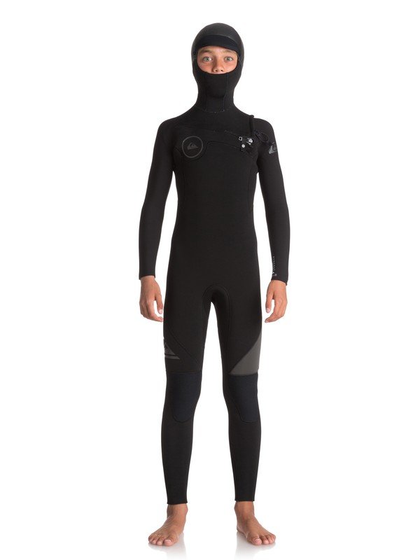 0 Boy's 8-16 5/4/3mm Syncro Series Hooded Chest Zip GBS Wetsuit Black EQBW203001 Quiksilver