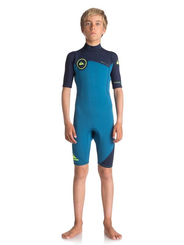 0 2/2mm Syncro Series - Short Sleeve Back Zip FLT Springsuit for Boys 8-16 Blue EQBW503004 Quiksilver