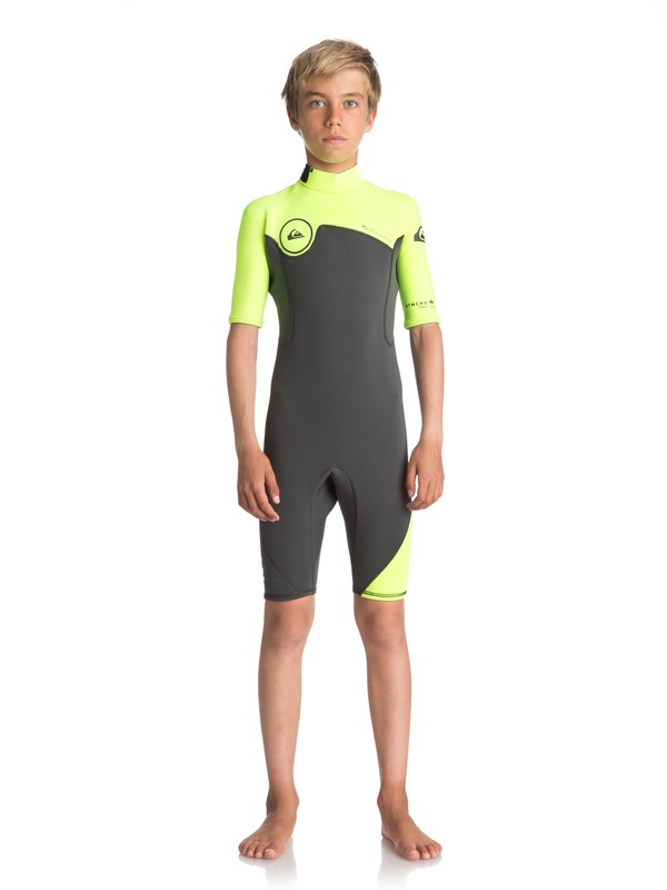 0 Boy's 8-16 2/2mm Syncro Series Short Sleeve Back Zip FLT Springsuit Black EQBW503004 Quiksilver