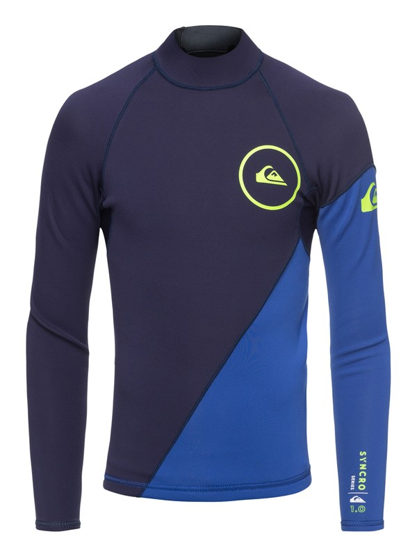 0 Boy's 8-16 1mm Syncro Series Long Sleeve Neoprene Surf Top Blue EQBW803003 Quiksilver