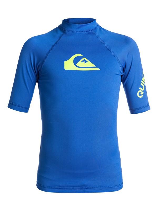0 Boy's 8-16 All Time Short Sleeve UPF 50 Rashguard Blue EQBWR03006 Quiksilver