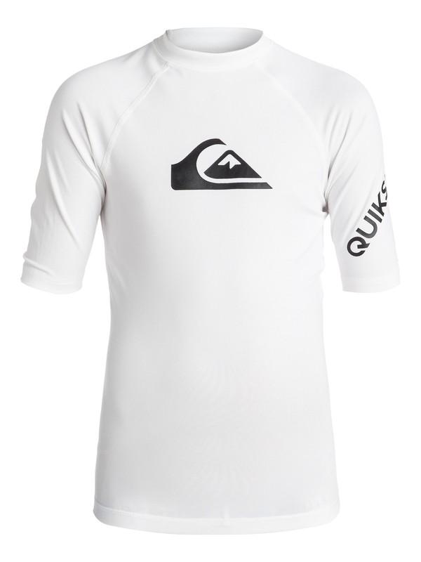 0 Boy's 8-16 All Time Short Sleeve UPF 50 Rashguard White EQBWR03006 Quiksilver