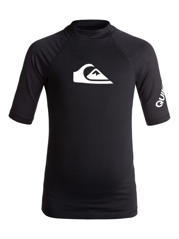 0 Boy's 8-16 All Time Short Sleeve UPF 50 Rash Guard Black EQBWR03060 Quiksilver