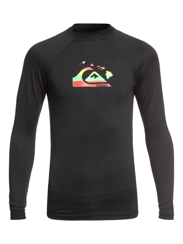 0 Boy's 8-16 Island Chains Long Sleeve UPF 50 Rash Guard Black EQBWR03065 Quiksilver