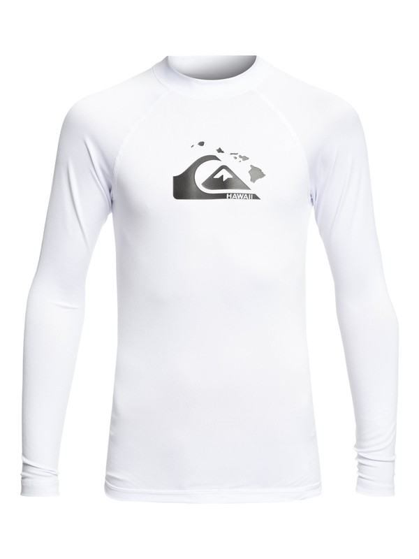 0 Boy's 8-16 Island Chains Long Sleeve UPF 50 Rash Guard White EQBWR03065 Quiksilver
