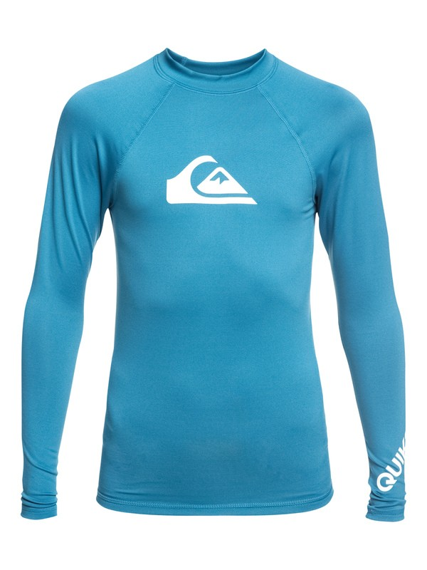 0 Boy's 8-16 All Time Long Sleeve UPF 50 Rashguard Blue EQBWR03075 Quiksilver