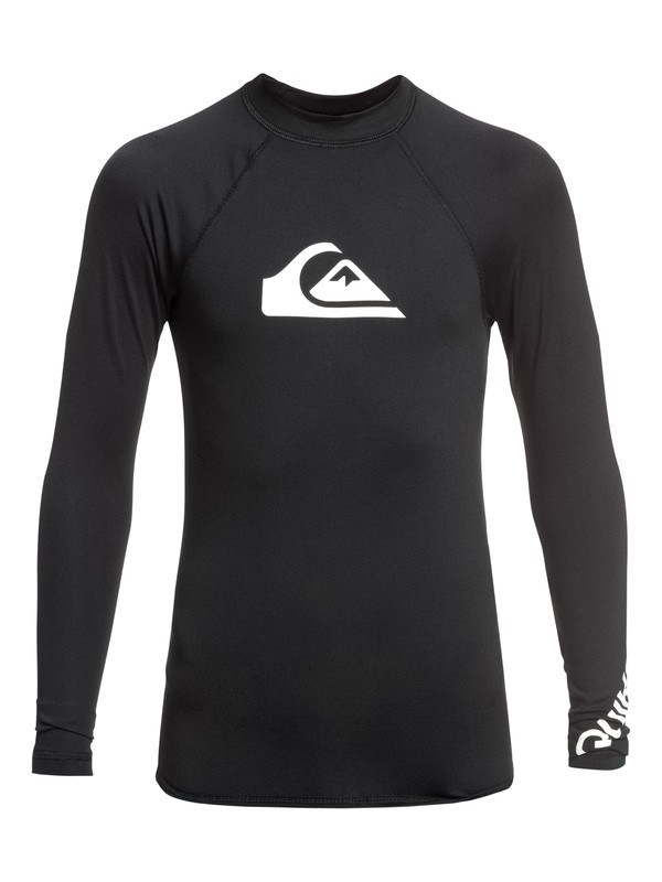 0 Boy's 8-16 All Time Long Sleeve UPF 50 Rashguard Black EQBWR03075 Quiksilver