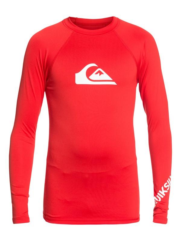 0 Boy's 8-16 All Time Long Sleeve UPF 50 Rashguard Red EQBWR03075 Quiksilver