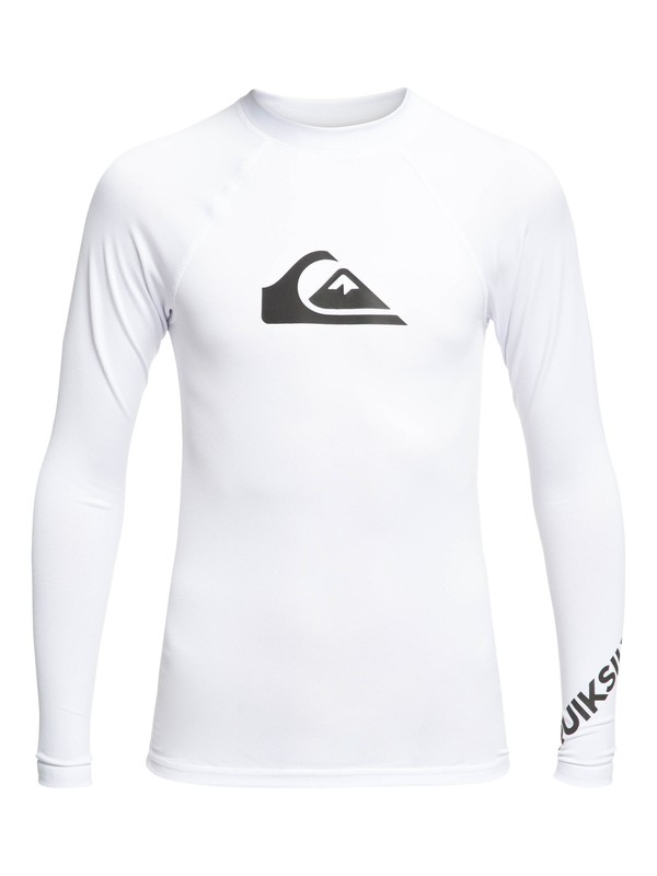0 Boy's 8-16 All Time Long Sleeve UPF 50 Rashguard White EQBWR03075 Quiksilver
