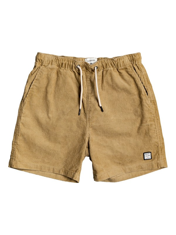 "0 Boy's 8-16 Wax Out 14"" Elasticized Corduroy Shorts Brown EQBWS03289 Quiksilver"