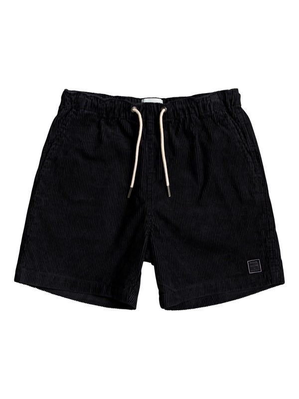 "0 Boy's 8-16 Wax Out 14"" Elasticized Corduroy Shorts Black EQBWS03289 Quiksilver"