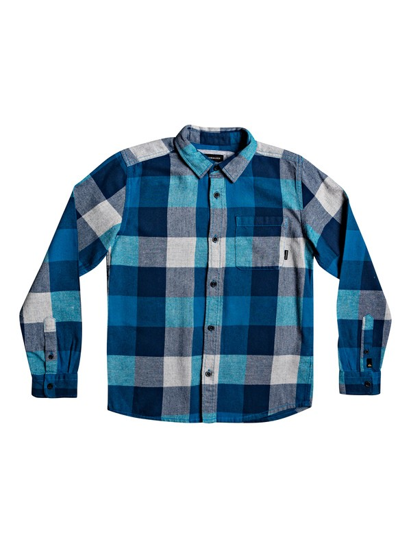0 Boy's 8-16 Motherfly Flannel Long Sleeve Shirt Blue EQBWT03227 Quiksilver