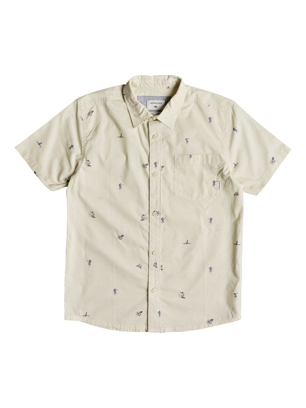 0 Boy's 8-16 Mini Kamakura Short Sleeve Shirt Beige EQBWT03231 Quiksilver