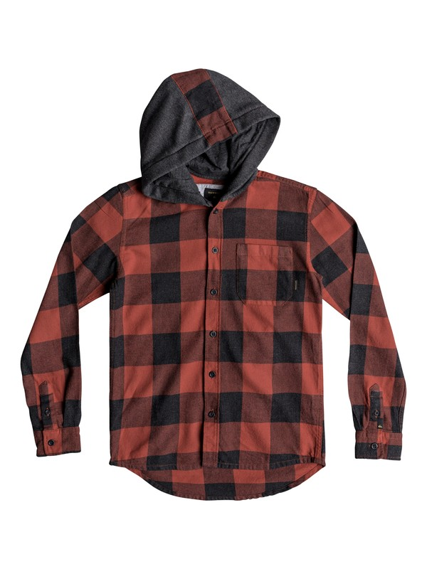 0 Boy's 8-16 Motherfly Long Sleeve Hooded Shirt Red EQBWT03233 Quiksilver
