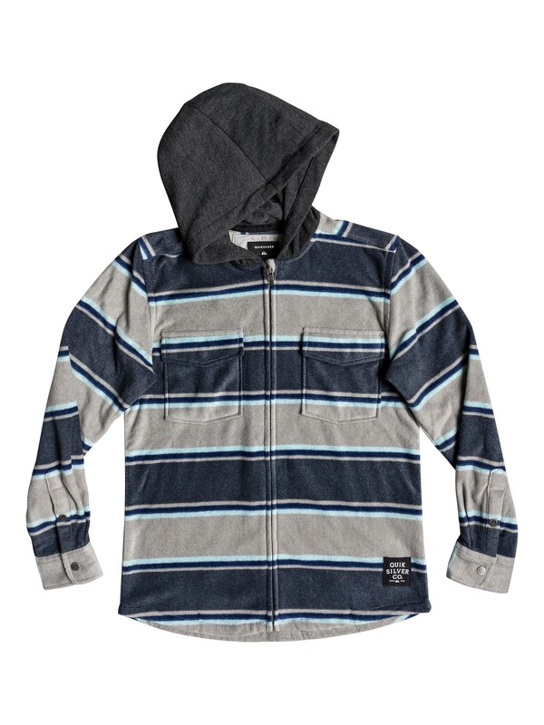 0 Boy's 8-16 Surf Days Long Sleeve Hooded Shirt Blue EQBWT03237 Quiksilver