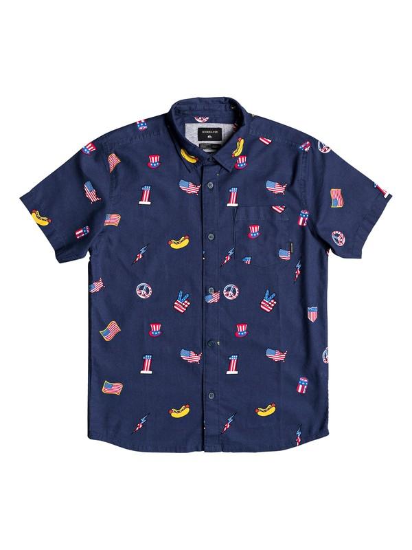 0 Boy's 8-16 Merica Patch Short Sleeve Shirt Blue EQBWT03253 Quiksilver