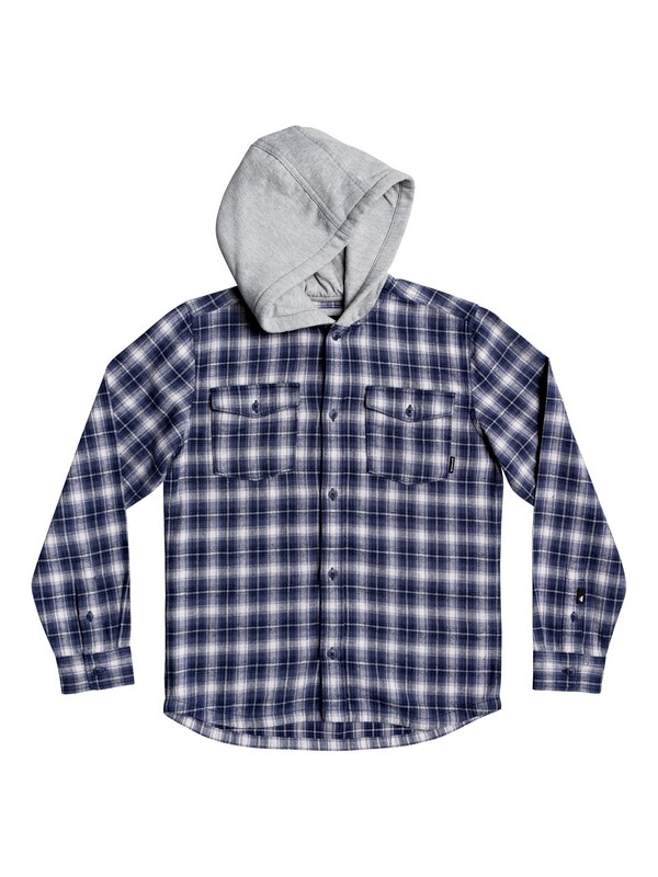 0 Boys 8-16 Snap Up Long Sleeve Hooded Flannel Shirt Blue EQBWT03263 Quiksilver
