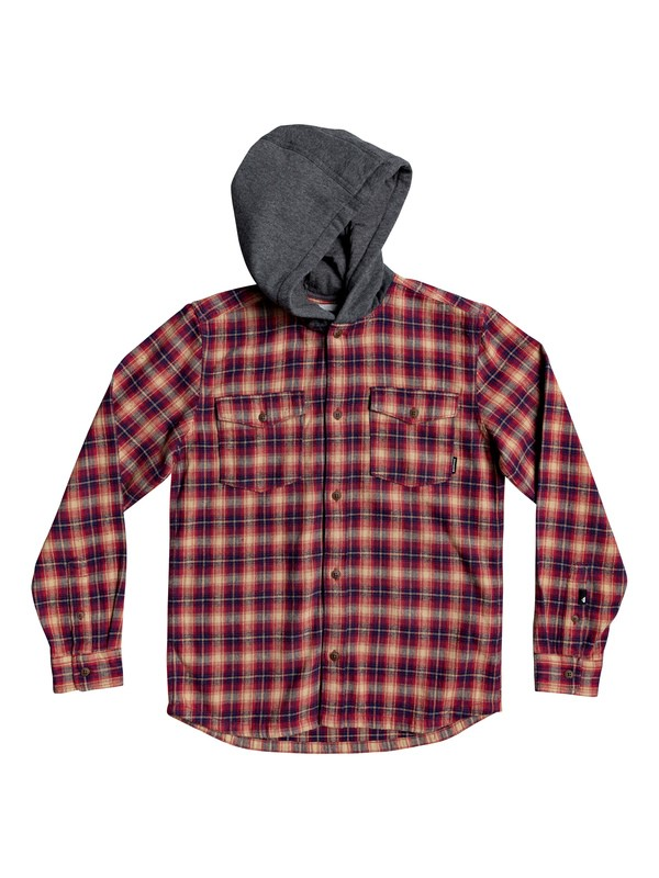 0 Boys 8-16 Snap Up Long Sleeve Hooded Flannel Shirt Red EQBWT03263 Quiksilver