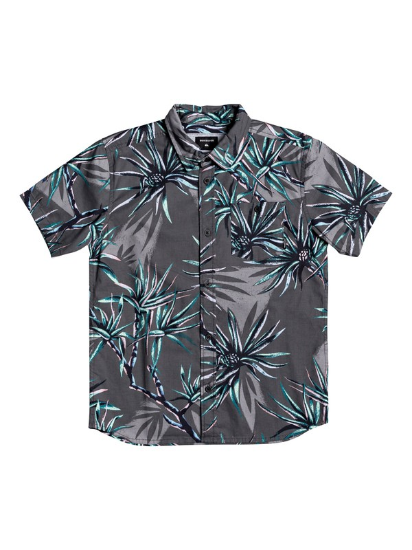 0 Boy's 8-16 Salty Palms Short Sleeve Shirt Black EQBWT03271 Quiksilver