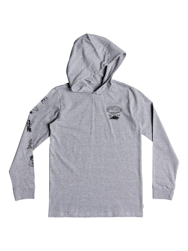 0 Boy's 8-16 Jiga Bachi Long Sleeve Hooded Tee Grey EQBZT03869 Quiksilver