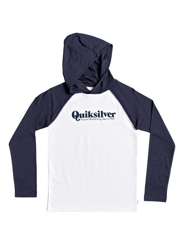 0 Boys 8-16 Modern Script Long Sleeve Hooded Top White EQBZT04116 Quiksilver