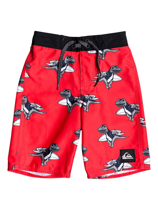 "0 Boy's 2-7 Everyday Dinos 14"" Boardshorts Red EQKBS03227 Quiksilver"