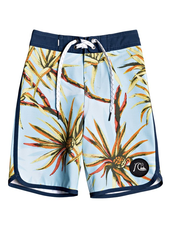 "0 Boy's 2-7 Highline Salty Palms 14"" Boardshorts Blue EQKBS03250 Quiksilver"