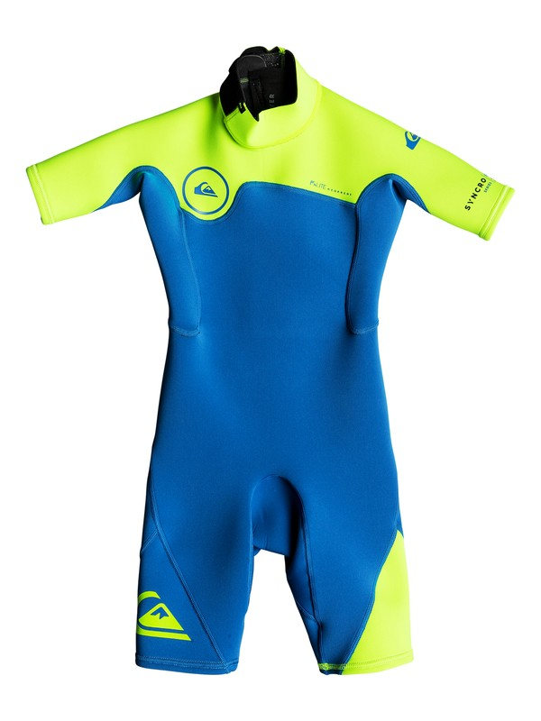 0 2/2mm Syncro Series - Short Sleeve Back Zip FLT Springsuit for Boys 2-7 Blue EQKW503000 Quiksilver