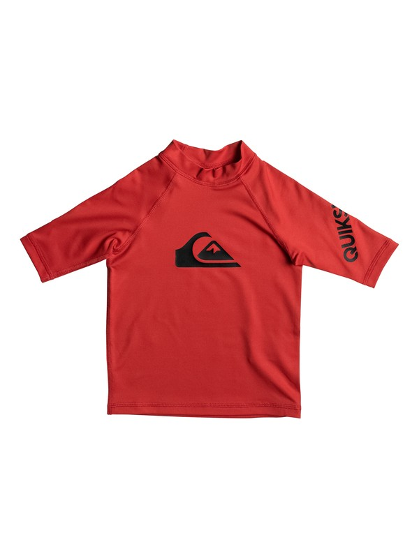 0 Boy's 2-7 All Time Short Sleeve UPF 50 Rashguard Red EQKWR03019 Quiksilver