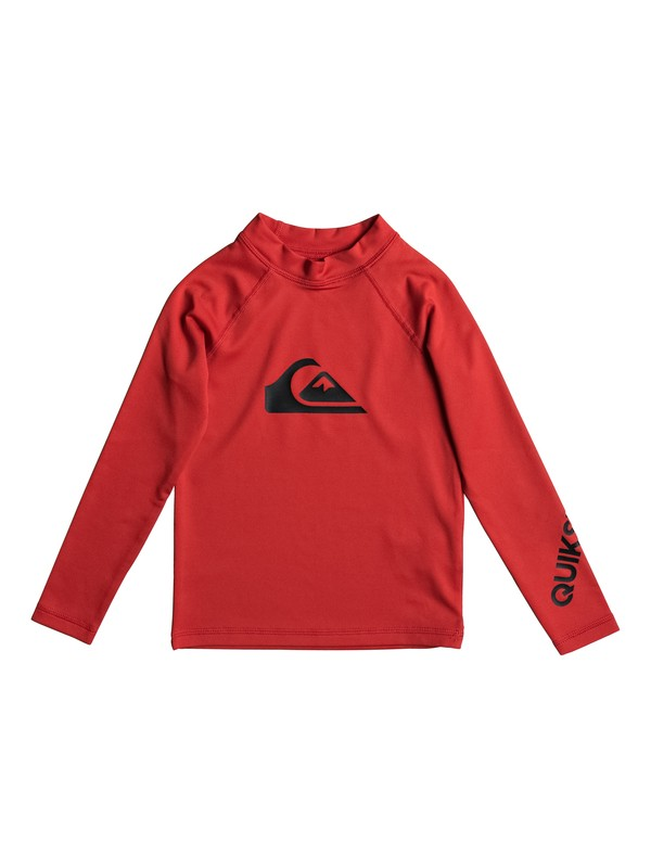 0 Boy's 2-7 All Time Long Sleeve UPF 50 Rashguard Red EQKWR03020 Quiksilver