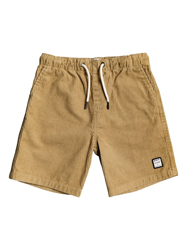 "0 Boy's 2-7 Wax Out 11"" Elasticized Corduroy Shorts Brown EQKWS03179 Quiksilver"