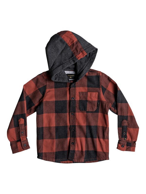 0 Boy's 2-7 Motherfly Long Sleeve Hooded Shirt Red EQKWT03149 Quiksilver