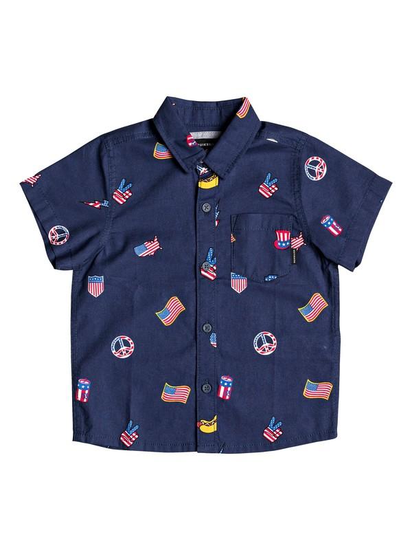 0 Boy's 2-7 Merica Patch Short Sleeve Shirt Blue EQKWT03162 Quiksilver