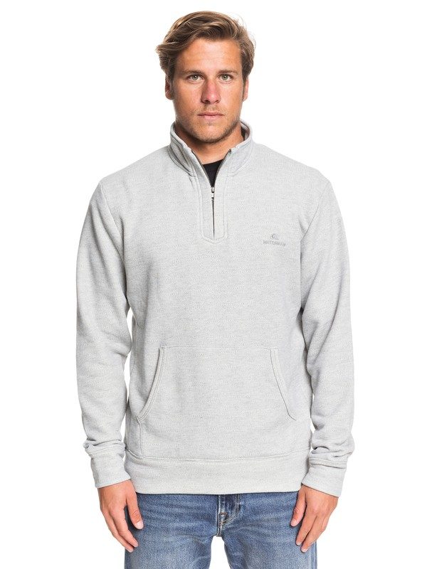 0 Waterman Ocean Nights Half-Zip Mock Neck Sweatshirt Grey EQMFT03045 Quiksilver