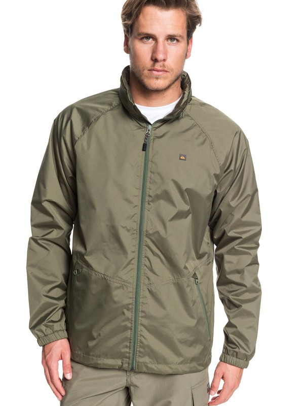 0 Waterman Shell Shock Water-Resistant Windbreaker Green EQMJK03023 Quiksilver