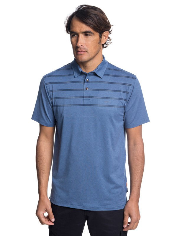 0 Waterman River Explorer Technical Short Sleeve Polo Shirt Blue EQMKT03043 Quiksilver