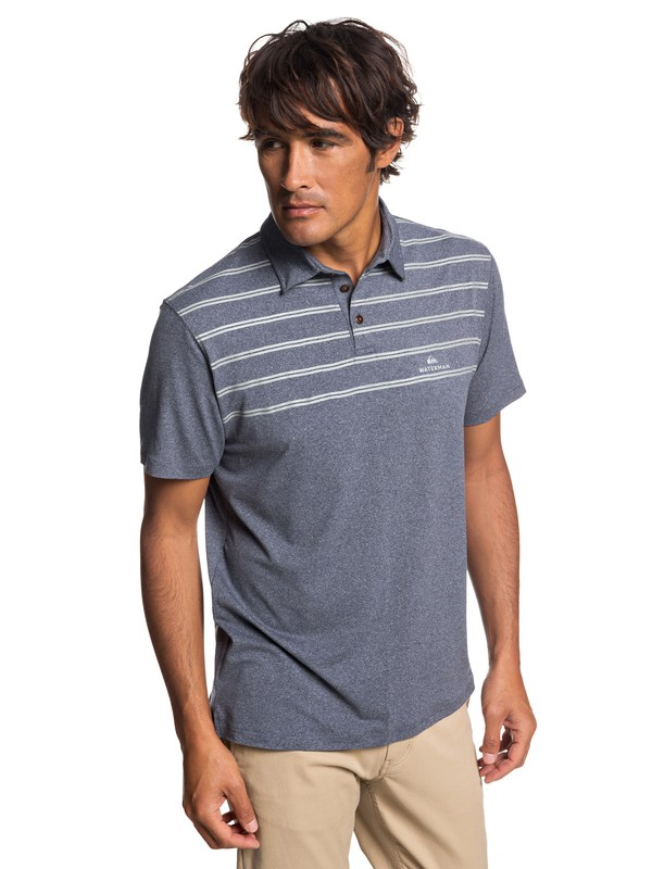 0 Waterman River Explorer Technical Short Sleeve Polo Shirt Blue EQMKT03043 Quiksilver