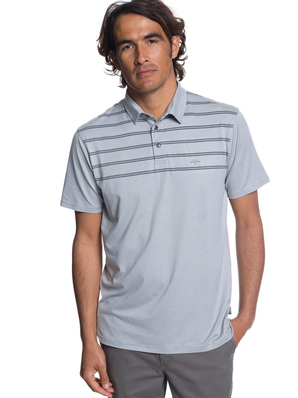 0 Waterman River Explorer Technical Short Sleeve Polo Shirt Grey EQMKT03043 Quiksilver