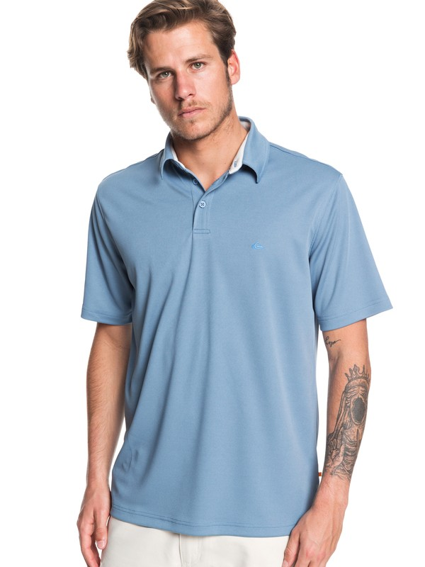 0 Waterman Water 2 Short Sleeve Polo Shirt Blue EQMKT03046 Quiksilver