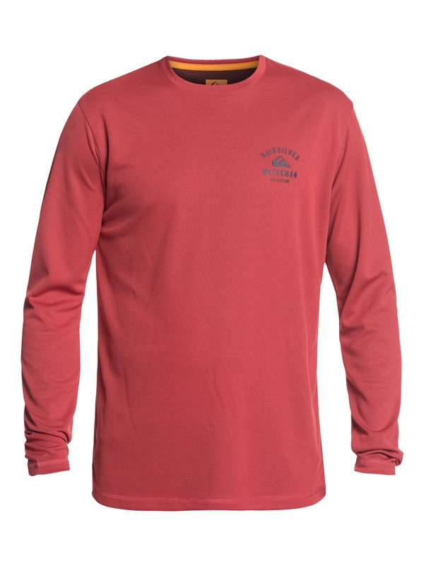 0 Waterman Gut Check Long Sleeve UPF 50 Rashguard Red EQMWR03041 Quiksilver