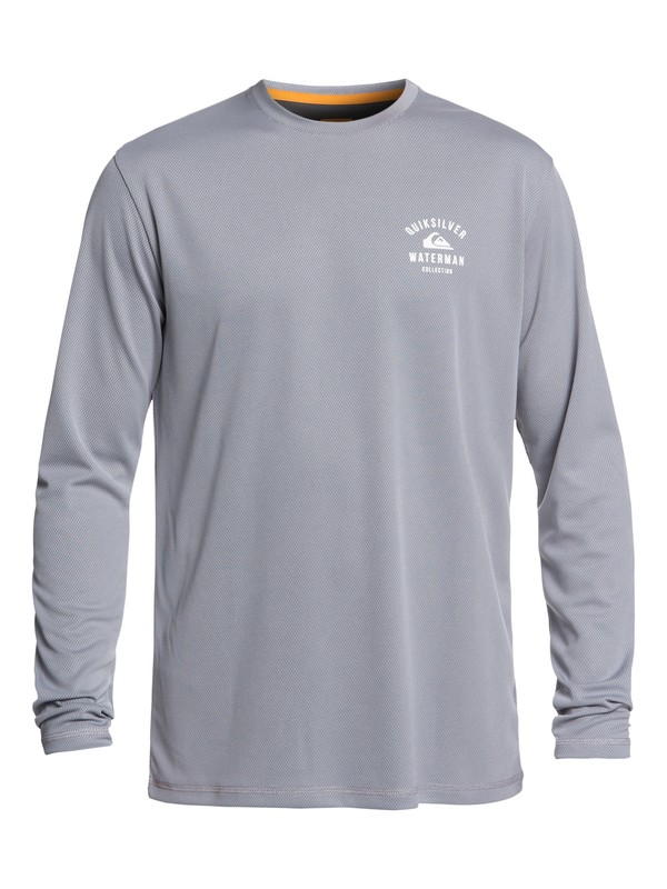 0 Waterman Gut Check Long Sleeve UPF 50 Rashguard Grey EQMWR03041 Quiksilver